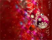 Tarjeta de navidad con bolas — Vector de stock