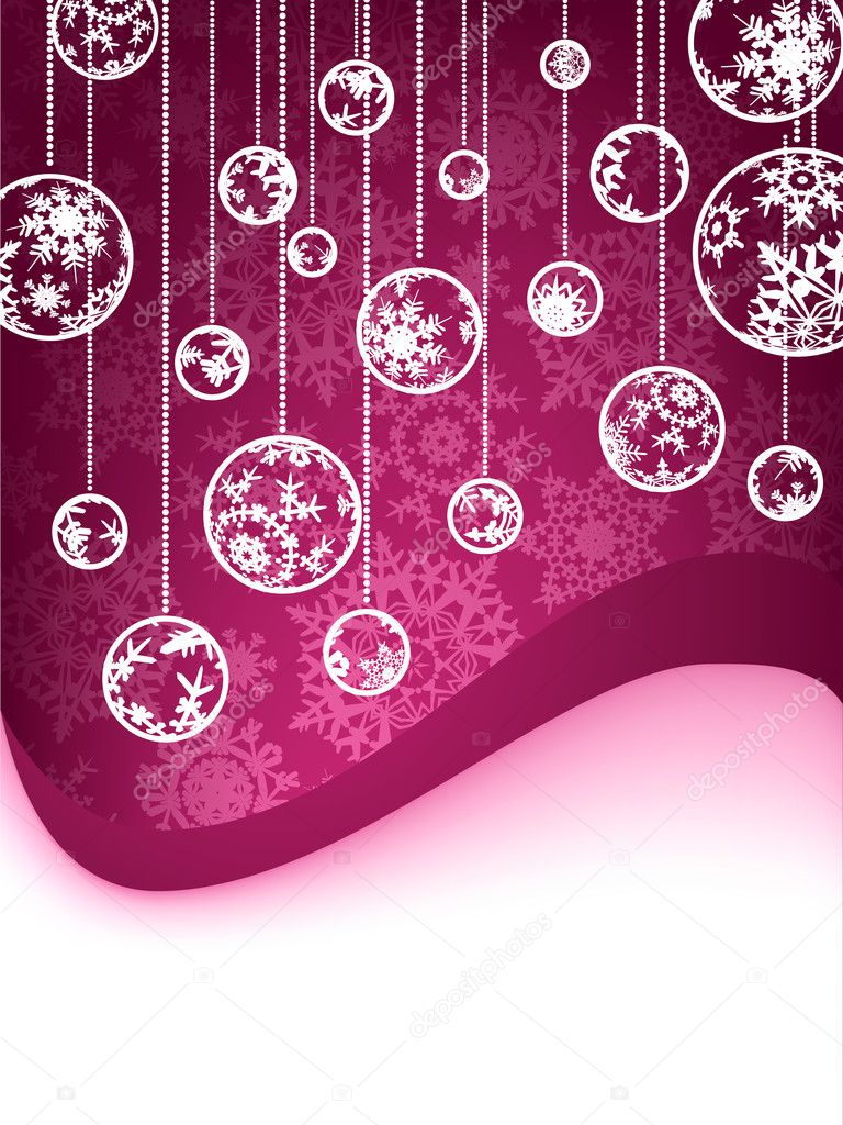 Christmas decoration made from purple and white snowflakes. EPS 8 vector file included — Stock Vector #4234029