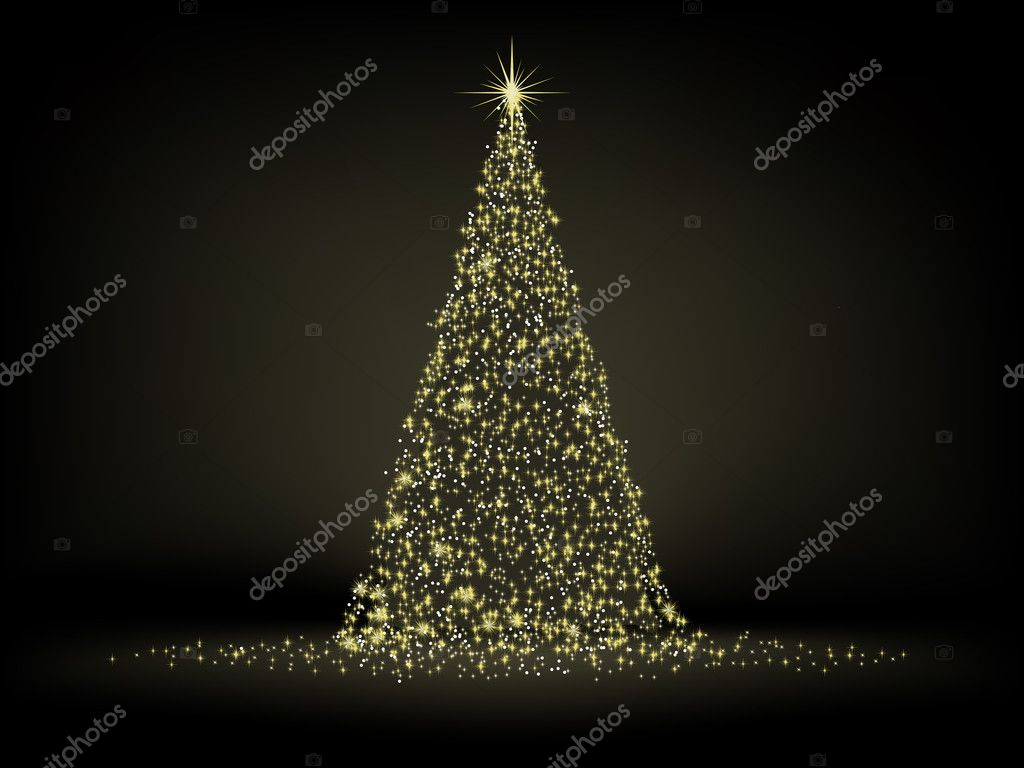 Abstract golden christmas tree on black background. EPS 8 vector file included — Stock Vector #4266181