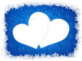 Marco de nieve en forma de corazón. eps 8 — Vector de stock