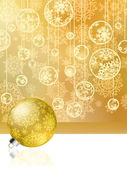 Golden christmas card with baubles . EPS 8 — Stock Vector