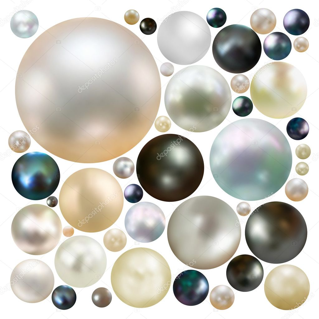 Collection of color pearls isolated on white. EPS 8 vector file included   Stock Vector #4273919