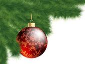 Christmas-tree and decoration ball. EPS 8 — Stock Vector