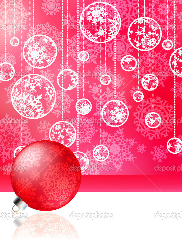 Pink christmas card with baubles . EPS 8 vector file included — Stock Vector #4322940