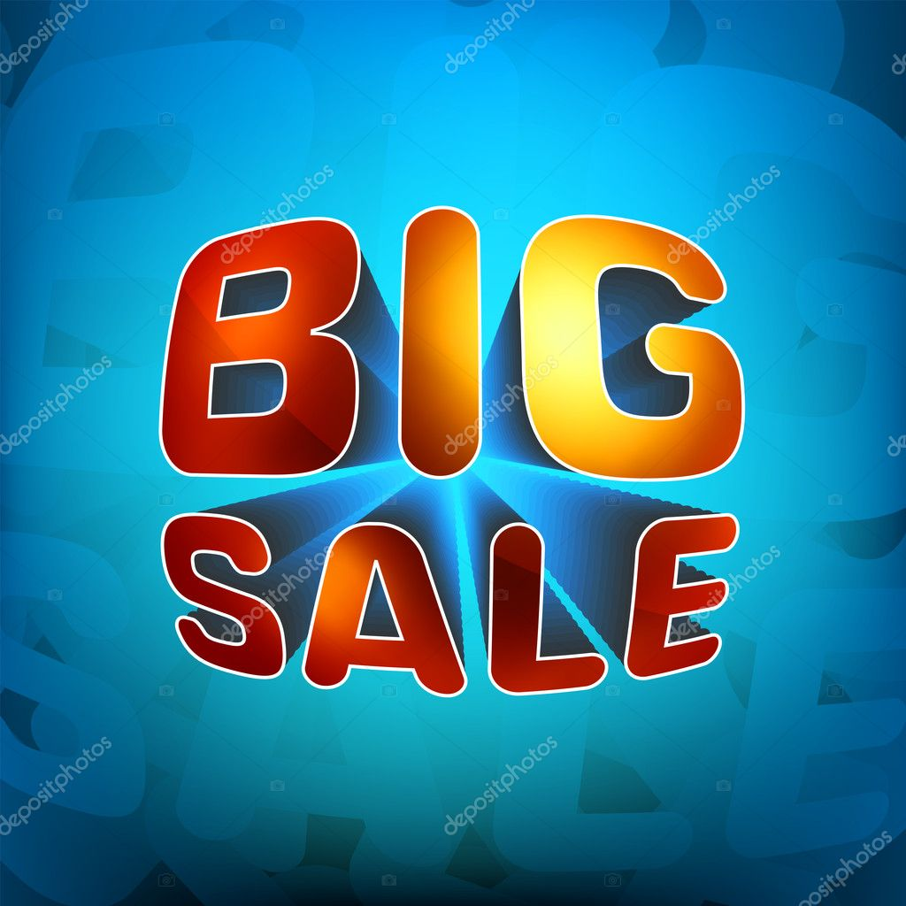 Zoom shine text Big Sale on blue background. EPS 8 vector file included  Stock Vector #4334658