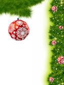 Thank You Card With A Christmas Balls — Stock Vector