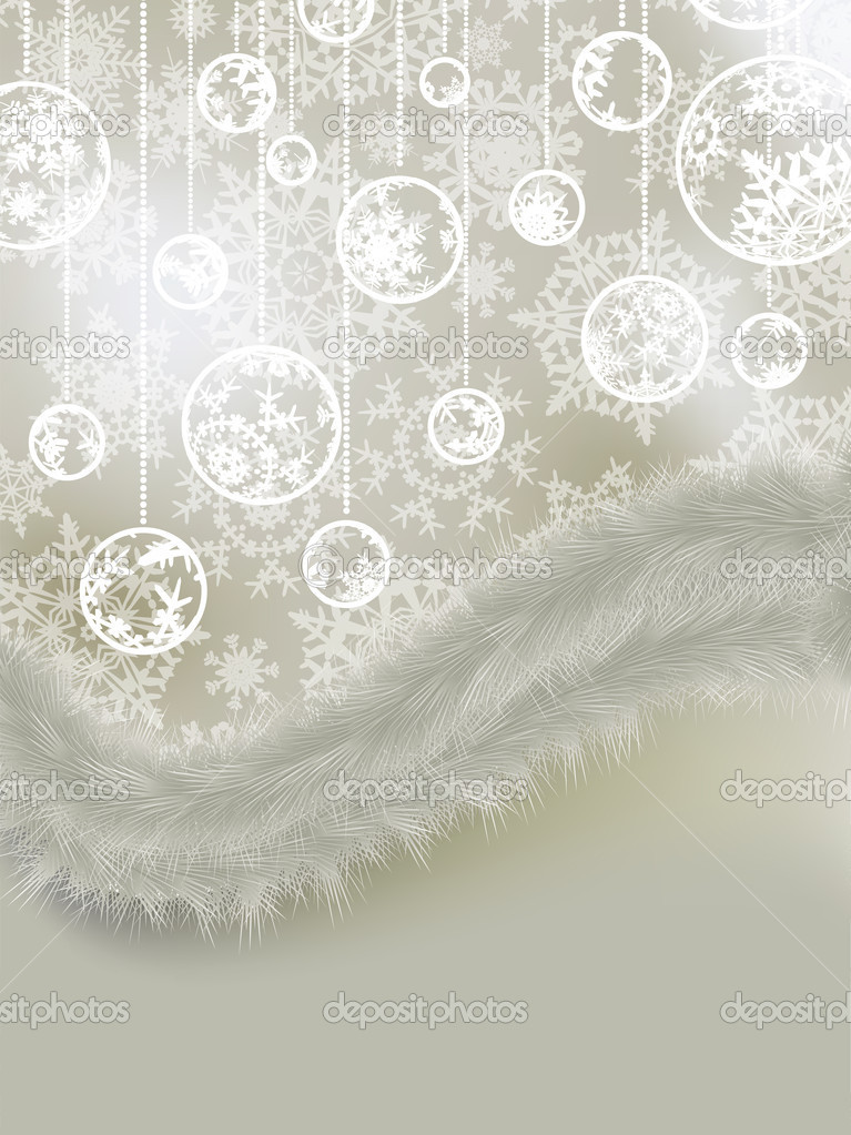 Elegant christmas with snowflakes tree branches. EPS 8 vector file included  Stock Vector #4367298