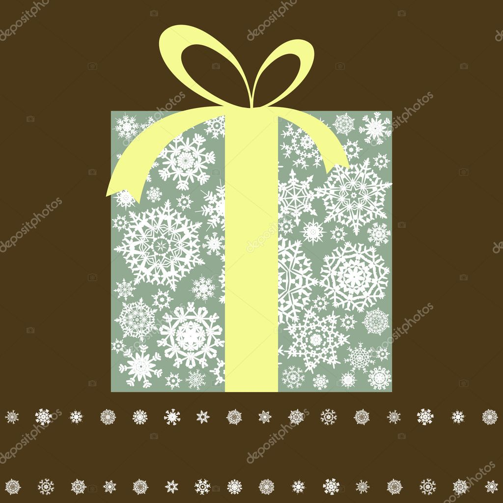 Retro gift box with bow. EPS 8 vector file included — Stock Vector #4372702