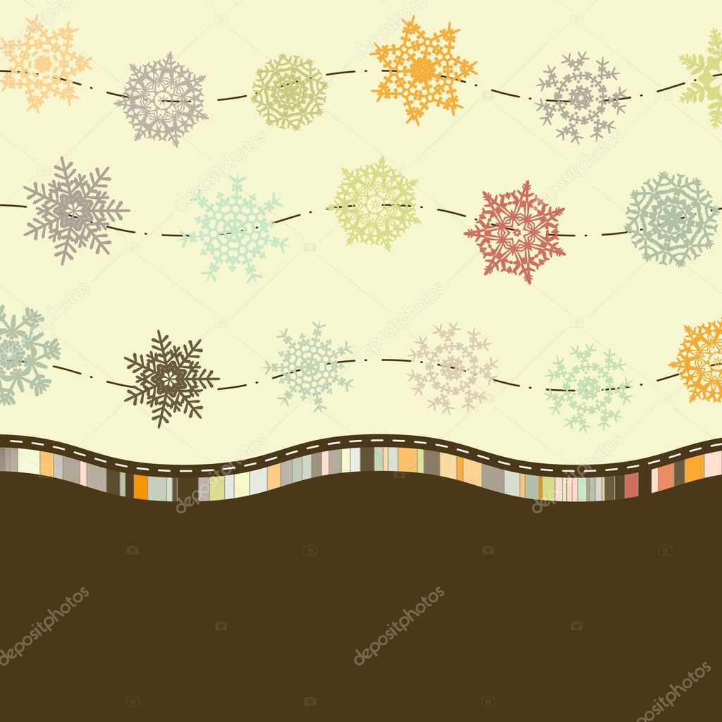 Retro Card Template with Snowflakes. EPS 8 vector file included — Stock Vector #4401077