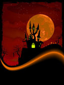 Scary Halloween Castle with Copy Space. EPS 8 — Stock Vector