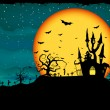 Halloween poster with zombie background. EPS 8 - Stock Vector