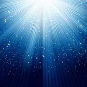 Kar taneleri ve mavi ışık üzerinde yıldız. eps 8 — Stok Vektör