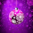 Royalty-Free Stock Vector Image: Christmas ball on falling flakes template. EPS 8