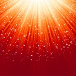 Royalty-Free Stock Imagen vectorial: Little hearts floating on rays of light. EPS 8