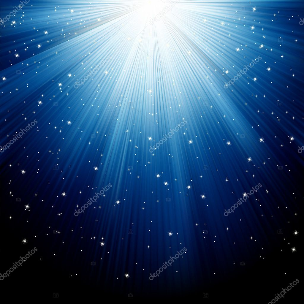 Snow and stars are falling on the background of blue luminous rays. EPS 8 vector file included — Stock Vector #4449308