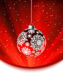 Christmas ball on falling flakes template. EPS 8 — Stock Vector