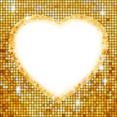 Gold frame in the shape of heart. EPS 8 — Stock Vector