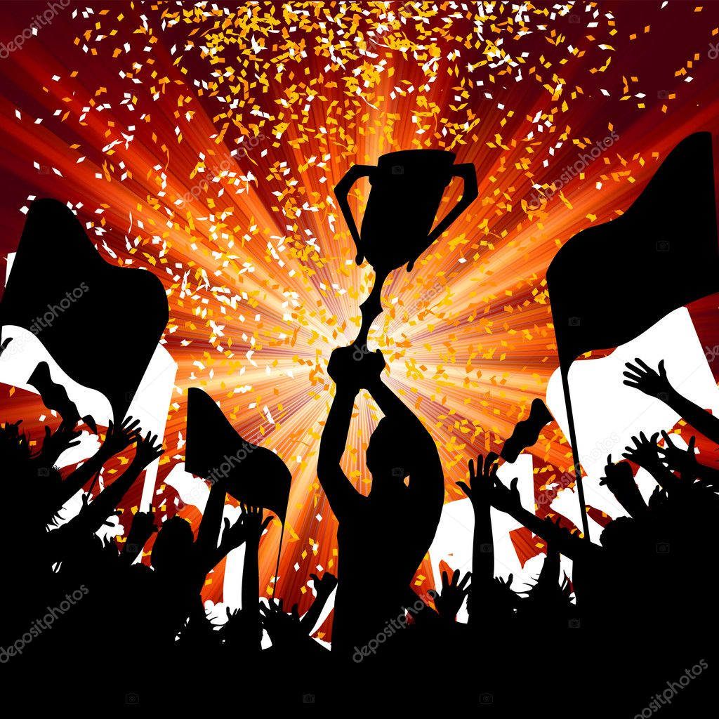 Huge Crowd Celebrating Soccer Game. EPS 8 vector file included — Stock Vector #4550269