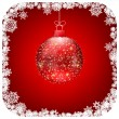 Christmas red ball christmas card. EPS 8 — Stockvektor
