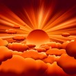 Vector sunburst. sunset on cloud. EPS 8 - Stockvectorbeeld