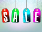 Colorful sale advertisement over background — Stock vektor