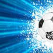 Football poster blue light burst. EPS 8 — Vector de stock