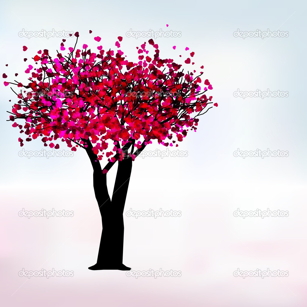 Passion tree with hearts, romantic template card. EPS 8 vector file included — Stok Vektör #4626744