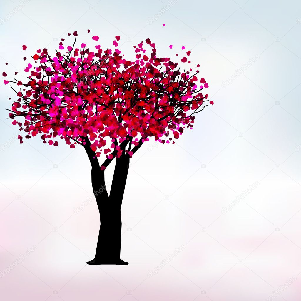 Passion tree with hearts, romantic template card. EPS 8 vector file included — Grafika wektorowa #4626744