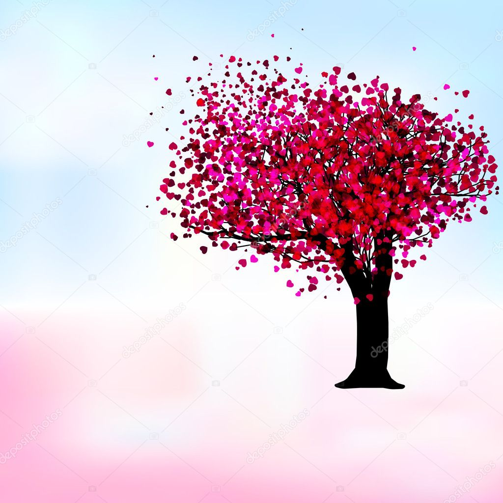 Passion tree with hearts, romantic template card. EPS 8 vector file included — ベクター素材ストック #4647475