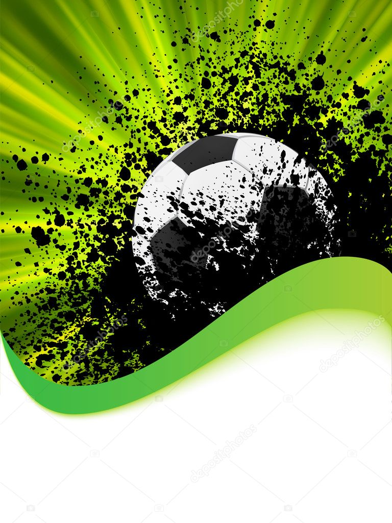 Grunge football poster with soccer ball. EPS 8 vector file included  — ベクター素材ストック #4664464
