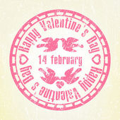 Pink grunge rubber stamp Valentine's Day. EPS 8 — Stock Vector