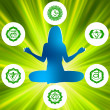 Royalty-Free Stock Imagen vectorial: Six Chakras and spirituality symbols. EPS 8