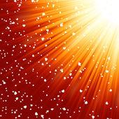 Pequenos corações flutuando em raios de luz. eps 8 — Vetorial Stock