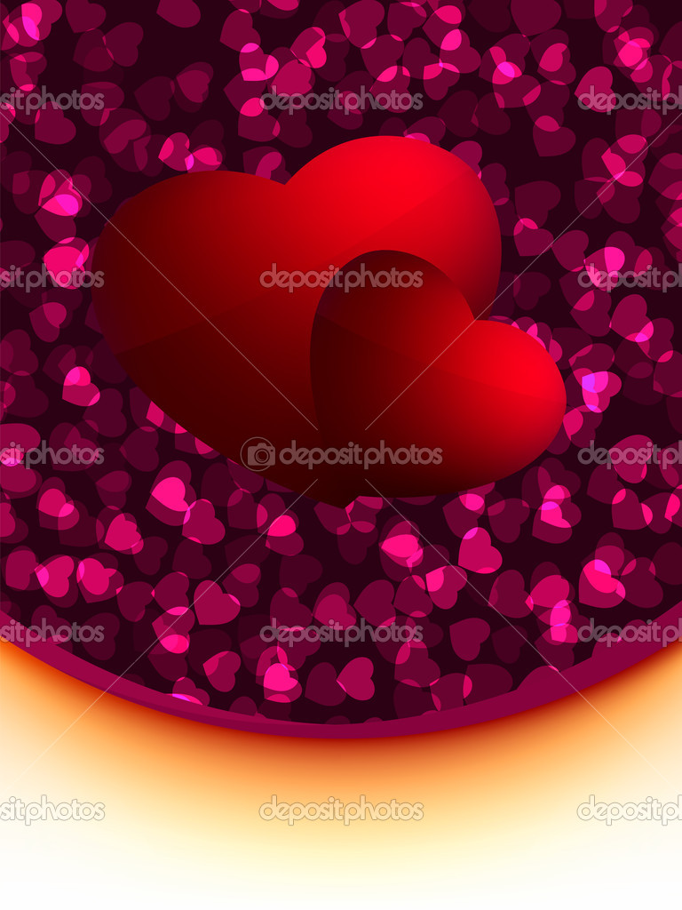 Greeting valentine card with abstract hearts. EPS 8 vector file included  Stock Vector #4853246