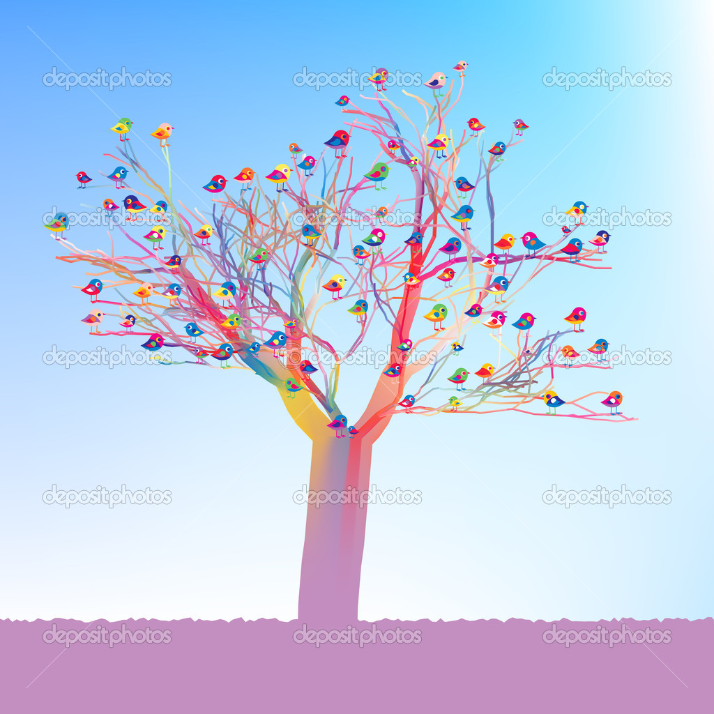 Birds sitting on a tree. Fresh spring illustration. EPS 8 vector file included — Imagens vectoriais em stock #4908274