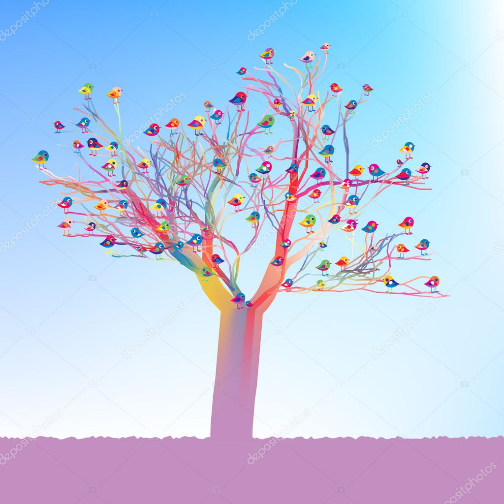 Birds sitting on a tree. Fresh spring illustration. EPS 8 vector file included — Stock vektor #4908274