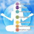 Woman in lotus position with the seven chakras. EPS 8 vector file included - Stock Vector