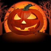 Scary pumpkin postcard. EPS 8 — Stock Vector