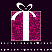 Rosa caixa e os corações dos namorados cartão de presente. EPS 8 — Vetor de Stock