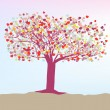 Romantic tree with hearts template card. EPS 8 — Imagen vectorial