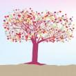 árbol romántico con plantilla de tarjeta de corazones. EPS 8 — Vector de stock