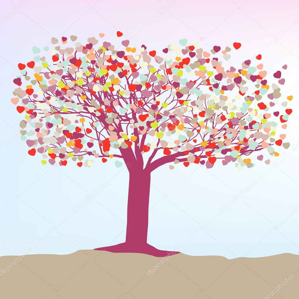 Romantic tree with hearts template card. EPS 8 vector file included  — Stock Vector #4976347
