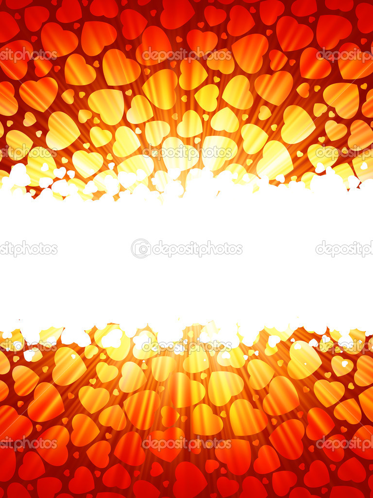 Red lights rays valentine card. EPS 8 vector file included — Stock Vector #5020573