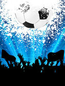 Soccer ball with silhouettes of fans. EPS 8 — Stock Vector