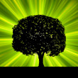 Stockvektor : Tree with green burst template. EPS 8