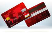 кредитная карта, вид спереди и сзади. eps 8 — Cтоковый вектор