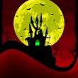 图库矢量图片: Scary halloween vector with magical abbey. EPS 8