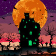 Grungy Halloween with haunted house. EPS 8 — Stock vektor