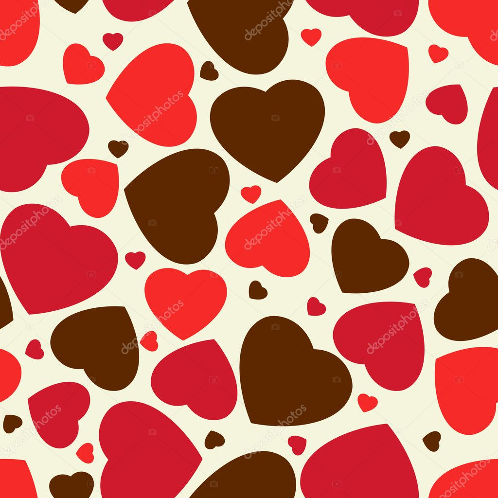 Cute hearts seamless background. EPS 8 vector file included — Stock Vector #5273457
