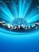 Cartel fiesta con bola de discoteca. eps 8 — Vector de stock